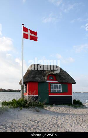 beach huts on aero - Stock Photo