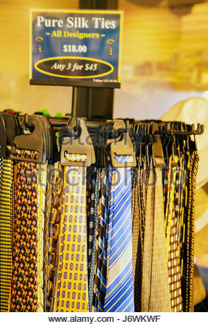 Miami Florida Biscayne Boulevard Hilton Miami Downtown hotel gift shop store silk ties for sale shopping - Stock Photo