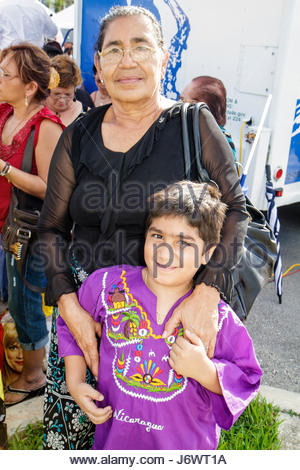 Miami Florida Arts in the Street Independence of Central America & Mexico Cultural Integration Day Hispanic Nicaraguan - Stock Photo