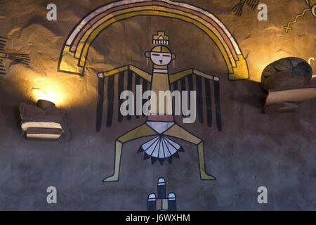Rock Art Mural Paintings inside Iconic Desert View Watchtower Structure on South Rim of Grand Canyon in Arizona - Stock Photo