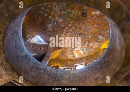 Interior of Iconic Desert View Watchtower on South Rim of Grand Canyon of Arizona with Rock Art Mural Paintings - Stock Photo