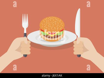 Knife and fork cutlery in hands with burger. Vector illustration - Stock Photo