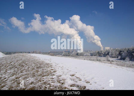 boxberg kraftwerk im winter - power plant boxberg in winter 01 - Stock Photo