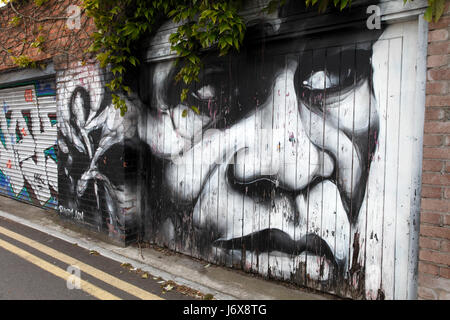 Graffiti On Walls And Garage Doors In The Fitzroy District Of Stock