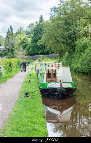 Narrowboats moored on the Brecon Monmouth Canal at Talybont on Usk - Stock Photo