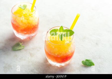 Frozen Granita Wine Slush Drink on rustic stone table. Homemade Italian Granita Dessert, refreshing  summer Gradient - Stock Photo