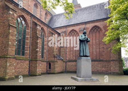 NAARDEN - NETHERLANDS - MAY 13, 2017: Statue of John Amos Comenius. Comenius was a Czech philosopher, pedagogue - Stock Photo