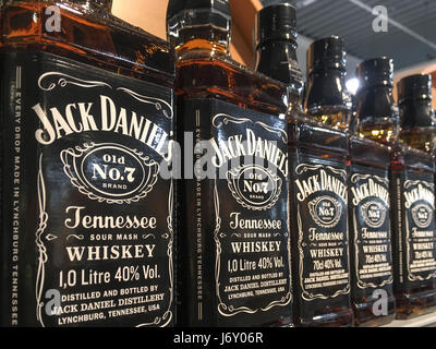 Gorlice, Poland - May 13, 2017: Bottles of Jack Daniel's Old No.7 Brand Whisky on store shelves for sale in Kaufland - Stock Photo