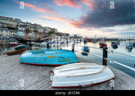 Sunset over the harbour at Brixham on the south coast of Devon - Stock Photo