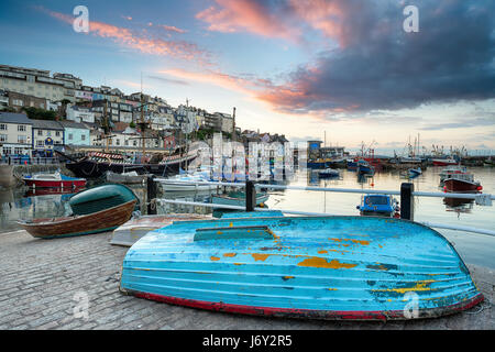 Boats in the harbour at Brixham on the south coast of Devon - Stock Photo