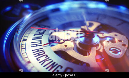 Growth Hacking - Inscription on Vintage Watch. 3D Render. - Stock Photo