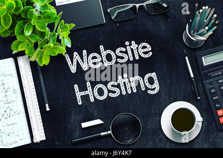 Website Hosting Concept on Black Chalkboard. 3D Rendering. - Stock Photo
