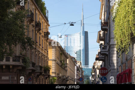 The view from Via Solferino in Milano. In the background the Unicredit Tower. Italy - Stock Photo