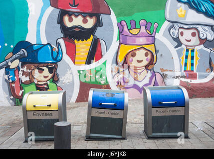 Underground rubbish/recycling containers for paper and plastic household waste on Tenerife, Canary Islands, Spain. - Stock Photo