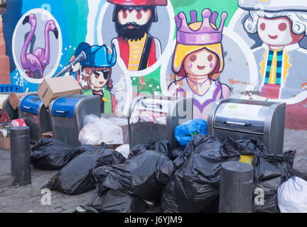 Underground rubbish/recycling containers for household waste on Tenerife, Canary Islands, Spain. - Stock Photo