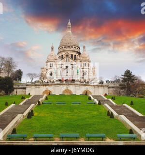 Sacre Heart Basilica of Montmartre in Paris, France - Stock Photo