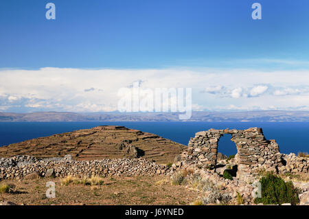 Peru, Amantani island on the Titicaca lake, the largest highaltitude lake in the world (3808m). This  picture presents - Stock Photo