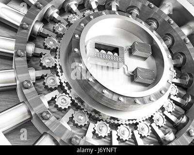 steel classic vault bank door 3d rendering image - Stock Photo