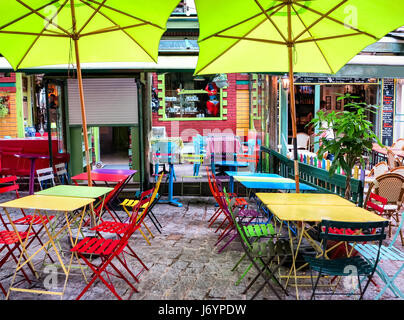 Picturesque colorful cafe terrace close to the Pantheon-Sorbonne University in Paris, France - Stock Photo