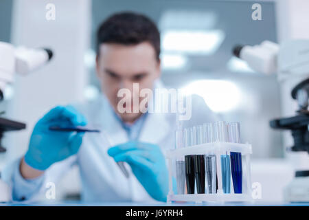 Close up of set with test glasses standing on the table - Stock Photo