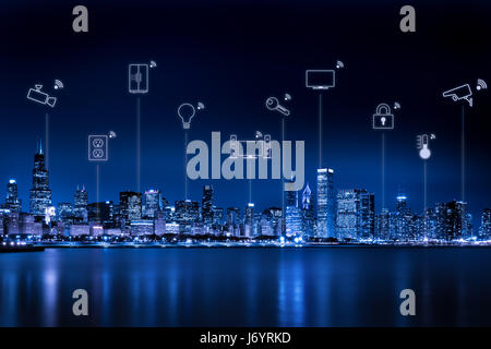 Chicago city skyline with internet of things - Stock Photo