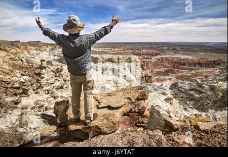Hiker standing on mountaintop with arms outstretched, Grand Staircase-Escalante National Monument, Utah, America, - Stock Photo