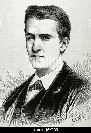Thomas Alva Edison(1847-1931). American inventor and businessman. Portrait. Engraving by E. Paya. 'La Academia', - Stock Photo
