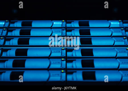 Close up of hard drives being used for collecting information - Stock Photo