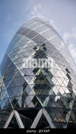 View of the Gherkin building (30 St Mary Axe). Gherkin - iconic symbol of London, one of city's most widely recognized - Stock Photo