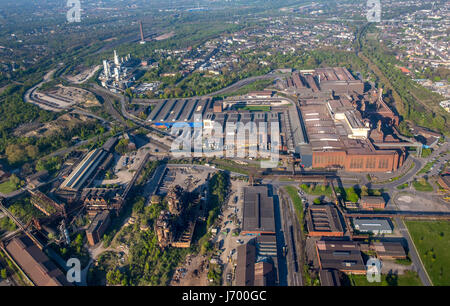 Steelworks ArcelorMittal Duisburg GmbH, old blast furnace, heavy industry, Montanindustrie, blast furnace ruin, - Stock Photo