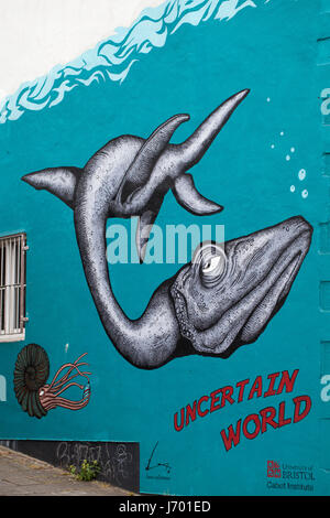 'Uncertain World' mural street art by Alex Lucas, in association with the Cabot Institute, University of Bristol - Stock Photo