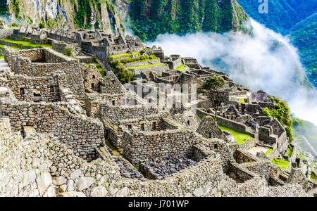 Machu Picchu, Incas ruins in the peruvian Andes at Cuzco Peru - Stock Photo