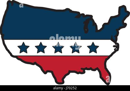 United States Of Maerica Map With Flag Stock Vector Art - Us map with glag