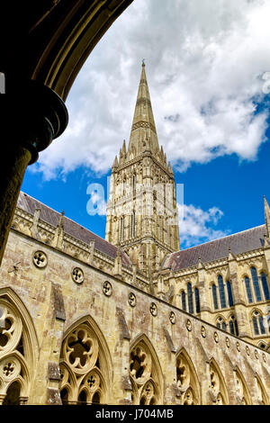 A view of the Salisbury Cathedral spire from the cloisters, Wiltshire, United Kingdom. - Stock Photo