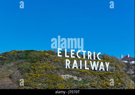 Electric railway sign in Douglas, Isle of Man - Stock Photo