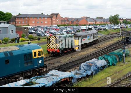 Diesel locomotives at the Severn Valley Railway, Kidderminster, UK - Stock Photo
