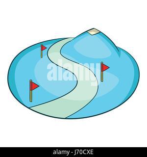 Ski slope of the snow mountain icon, cartoon style - Stock Photo