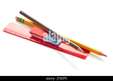 Pencil, rulers and eraser. Isolated on white background. - Stock Photo