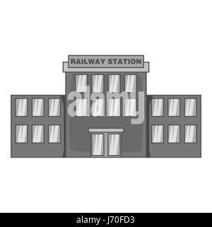 Railway station icon, black monochrome style - Stock Photo