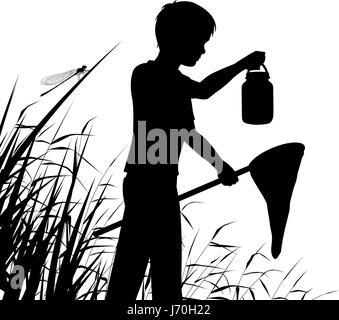 Editable vector silhouette of a boy pond dipping or catching insects in a wetland habitat with figure as separate - Stock Photo