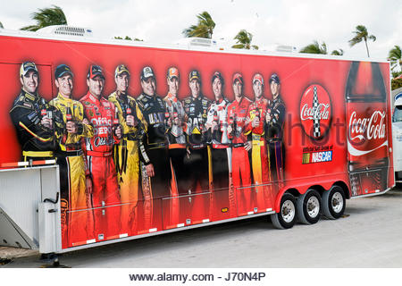 Miami Beach Florida Lummus Park Coca-Cola Fuels NASCAR Championship Drive exhibitors product promotion trailer advertising - Stock Photo