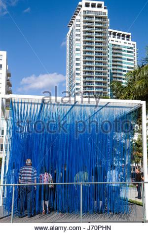 Miami Florida Midtown Art Basel art installation tactile high-rise condominium building - Stock Photo