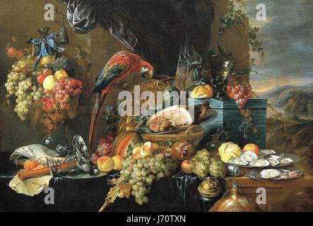 Heem, Jan Davidsz. de - A Richly Laid Table with Parrots - c. 1650 - Stock Photo