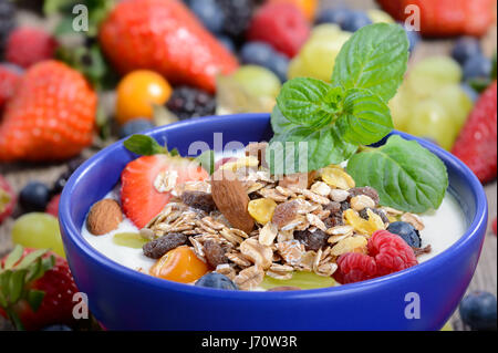 Plain yogurt with muesli and mixed fresh fruit in a blue ceramic bowl - Stock Photo