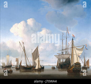 Willem van de Velde (II)  Ships in the Roads, Admiralty Yacht of Amsterdam   1658 - Stock Photo