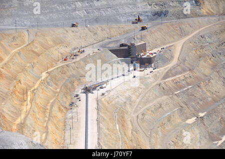silver copper excavation equipment mine ore gold mining salt macro close-up - Stock Photo
