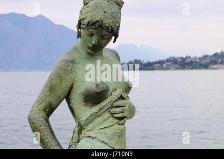 Cassone di Malcesine Statue on Lake Garda in Italy - Stock Photo