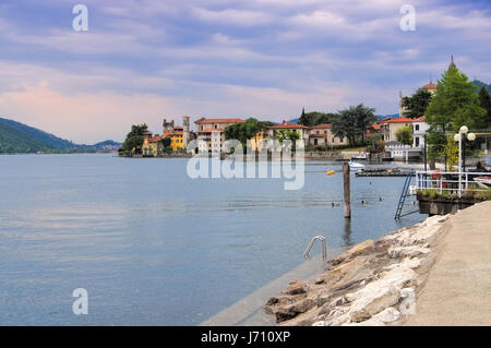 Predore Iseo lake, Lombardy in Italy - Stock Photo