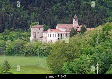 Monastery of San Pietro in Lamosa on the Iseo lake in Italy - Stock Photo