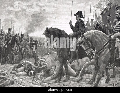 Meeting of Wellington & Blucher after the battle of Waterloo 1815 - Stock Photo